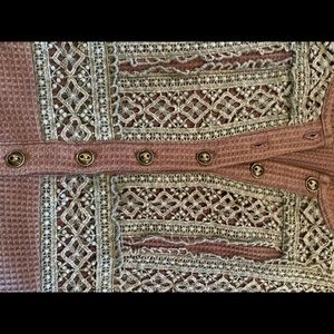 ODDY Tops - ODDY Brown Waffle Top with Lace Detail - Size L